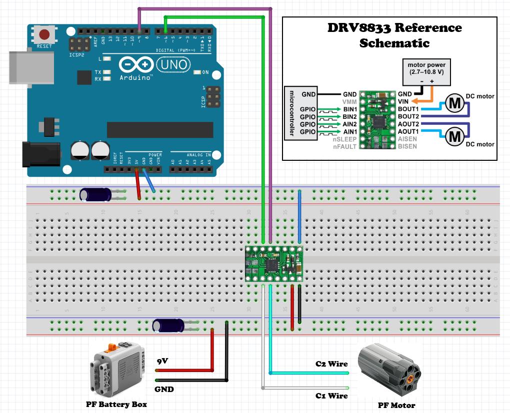 lego pf hacking wiring the arduino scuttlebots rh scuttlebots com Induction Motor Wiring Diagram Single Phase Motor Wiring Diagrams